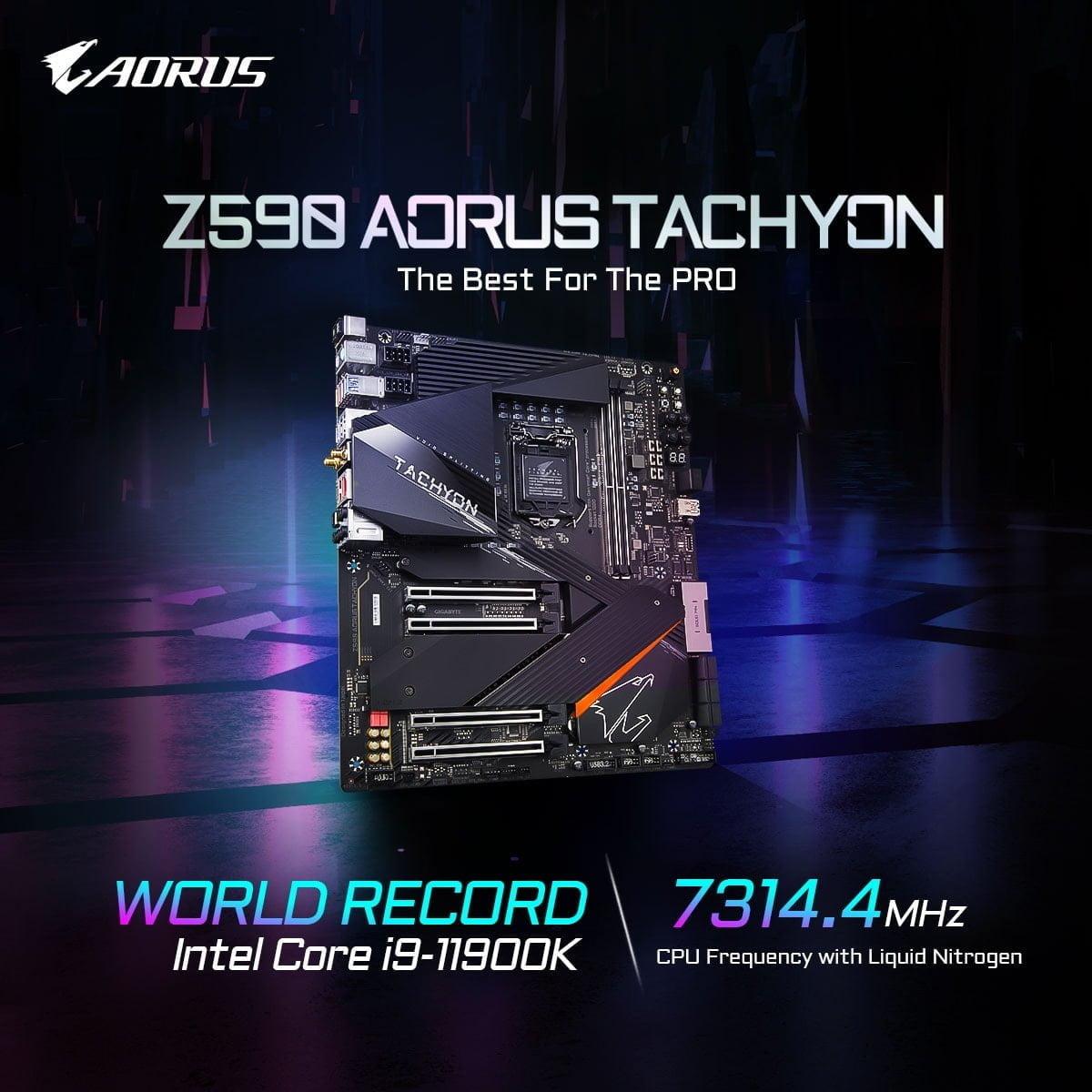 Core i9-11900K đạt mức xung kỉ lục 7314.4MHz với bo mạch chủ GIGABYTE Z590 AORUS TACHYON
